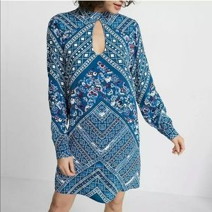 Express geometric mock neck dress